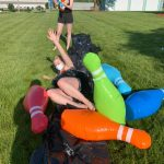 Make your own Slip 'n Slide! All you need are some heavy duty trash bags and a little bit of dish soap.