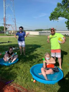 Clare and Eric were the camp counselors for the day as Street Teamers Cassy and Cece tried out lots of fun water games.