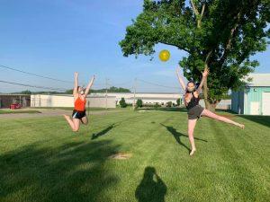Toss the beach ball around in the yard.